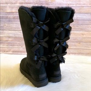 UGG Black Bailey Bow Tall II Boots